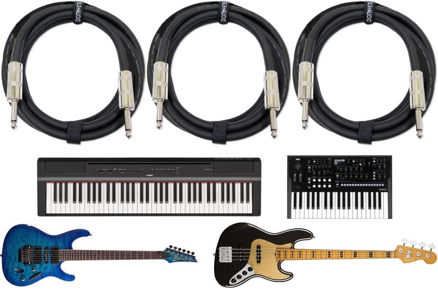 NEW Pair Of 10 FOOT 1//4 MONO GUITAR BASS KEYBOARD INSTRUMENT CABLE CORD
